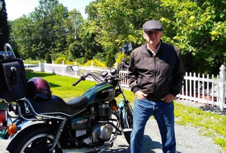 """""""Motorcycle Guy"""" in front of Westboro Assisted Living (With my beloved old Honda cm400t.)"""